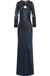Michelle Mason Convertible Cutout Silk Satin And Lace Gown Midnight Blue