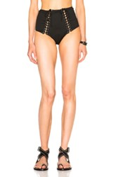 Fleur Du Mal Lacing High Waist Bikini Bottom In Black