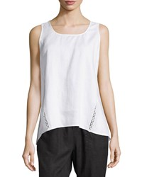 Neiman Marcus Linen Crochet Trim High Low Tank White