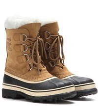 Sorel Caribou Leather And Rubber Boots Brown