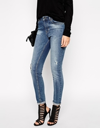 Karen Millen Faded Jeans In Fern Wash Blue