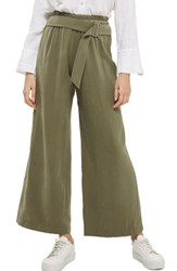Topshop Women's Belted Wide Leg Trousers Olive