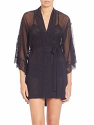 Natori Lace Trimmed Wrap Robe Ivory Black
