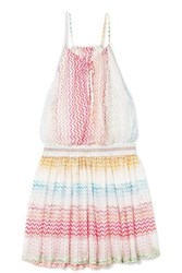 Missoni Mare Striped Crochet Knit Mini Dress Pink