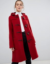 Gloverall Slim Mid Length Duffle Coat In Wool Blend Red