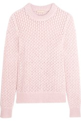 Michael Kors Collection Open Knit Mohair And Silk Blend Sweater Baby Pink