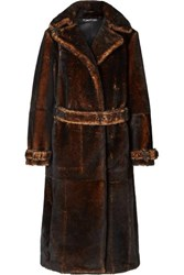 Tom Ford Oversized Shearling Coat Brown
