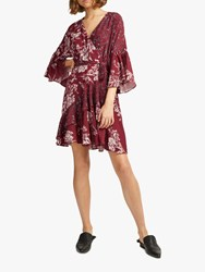 French Connection Frill Wrap Floral Dress Deep Framboise Multi