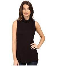 B Collection By Bobeau Sloan Ribbed Sleeveless Turtleneck Tee Black Women's Sleeveless