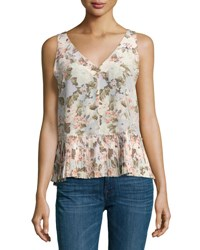 Rebecca Taylor Penelope Sleeveless Floral Silk Top With Pleated Hem Multicolor