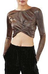 Topshop Women's Metallic Twist Front Crop Top