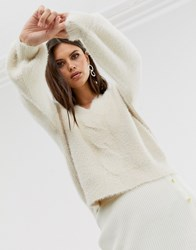 Fashion Union Relaxed Jumper With Twist Front Detail Cream