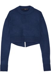 Tibi Cropped Cashmere Sweater Navy