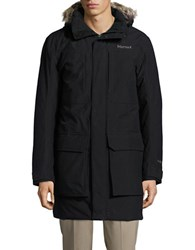 Marmot Linwood Faux Fur Trimmed Down Coat Black