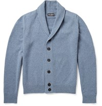 John Smedley Patterson Shawl Collar Merino Wool And Cashmere Blend Cardigan Blue