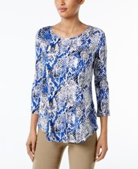 Jm Collection Printed T Shirt Only At Macy's Blue Texture