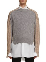 Burberry Paneled Cashmere Fisherman Sweater Grey