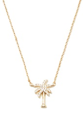 Forever 21 Palm Tree Charm Necklace Gold Clear