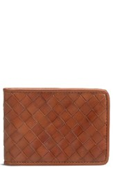 Trask Men's Woven Leather Wallet Brown Tan