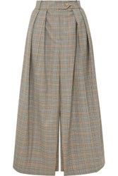 Awake A.W.A.K.E. Pleated Checked Wool Skirt Brown