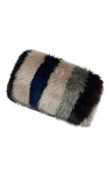 Marni Striped Fox Fur Banded Stole Blue