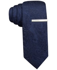 Alfani Red Tonal Paisley Skinny Tie Only At Macy's Navy