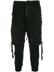 Greg Lauren Layered Tapered Trousers Black