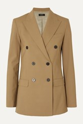 Theory Double Breasted Grain De Poudre Wool Blend Blazer Camel