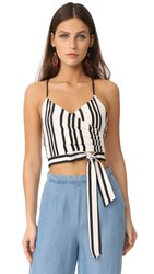 Alice Olivia Rayna Tie Front Cross Over Tank Variegated Stripe
