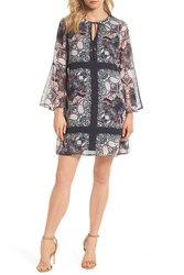 Vince Camuto Floral Bell Sleeve Chiffon Shift Dress Pink Blue