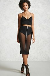Forever 21 Sheer Mesh Zipper Skirt Black