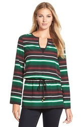 Michael Michael Kors 'Mauboug' Stripe Drawstring Waist Tunic Top Palmetto Green