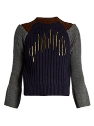 Kolor Flared Cuff Sequin Embellished Wool Sweater Grey Multi