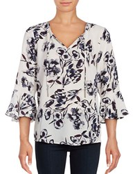 Ivanka Trump Three Quarter Sleeve Tie Neck Floral Blouse White Purple