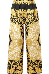 Versace Printed Cropped Silk Charmeuse Wide Leg Pants Yellow