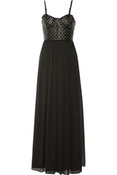 Alice Olivia Ciel Leather And Crinkled Chiffon Maxi Dress Black
