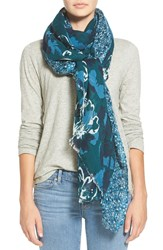 Halogen Floral Print Cotton And Wool Scarf Teal Combo