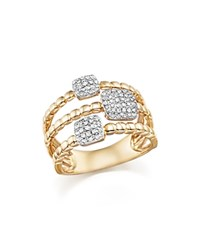 Bloomingdale's Diamond Pave Triple Row Beaded Band In 14K Yellow Gold .25 Ct. T.W.