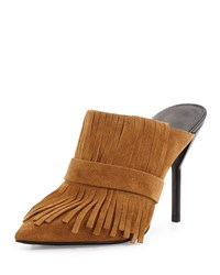 3.1 Phillip Lim Martini Fringe Suede High Heel Mule Oak Brown Women's