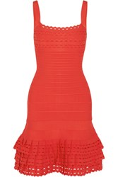 Herve Leger Ruffled Bandage Mini Dress Red