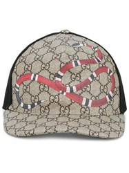 Gucci Snake Print Gg Supreme Baseball Cap Brown