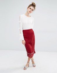 Sportmax Code Bettina Lace Skirt With Pink Piping Bordeaux Red