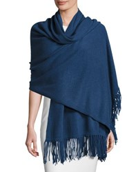 Minnie Rose Fringed Cashmere Wrap Moonstone