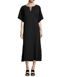 Joan Vass Long Dolman Sleeve Dress W Lattice Detail Black