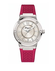 Salvatore Ferragamo F 80 Stainless Steel Burgundy Rubber Strap Watch Pink