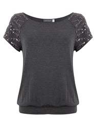 Mint Velvet Sequin Sleeve T Shirt Grey