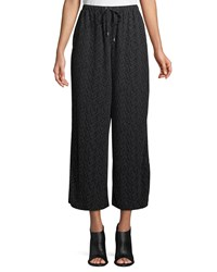 Eileen Fisher Morse Code Wide Legs Cropped Pants Plus Size Black