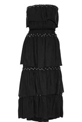 Sonia Rykiel Strapless Tiered Embellished Crepe Maxi Dress Black