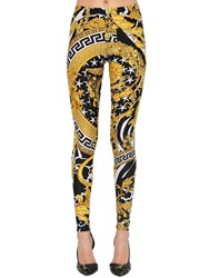 Versace Printed Stretch Jersey Leggings Black Gold