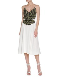 Francesco Scognamiglio Floral Vine Sleeveless Midi Dress White Pattern